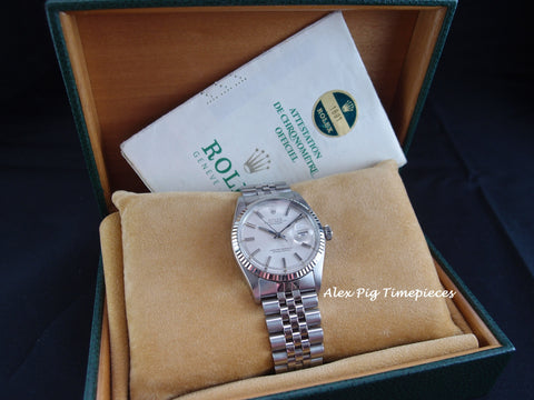 Rolex DATEJUST 1601 SS ORIGINAL Silver Dial with Box and Paper