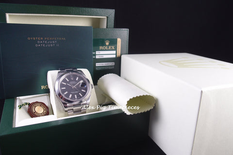 Rolex DATEJUST 2 116300 Black Stick Dial with Smooth Bezel Full Set