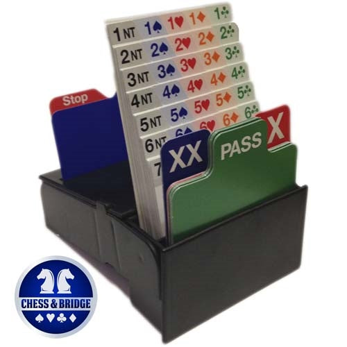 Bid Buddy - Set of 4 Bridge Bidding Boxes with Bidding Cards - Black
