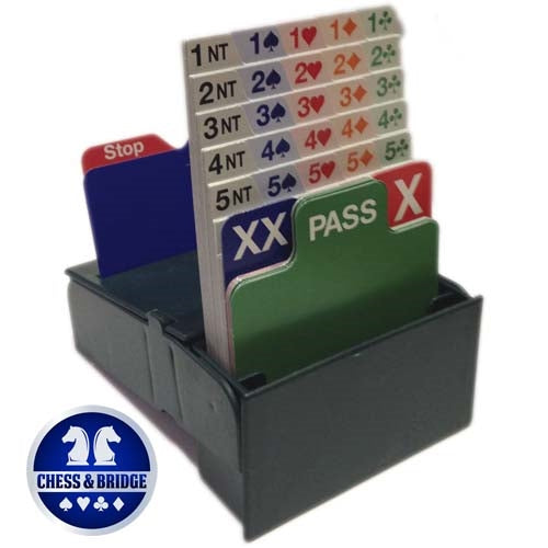 Bid Buddy - Set of 4 Bridge Bidding Boxes with Bidding Cards - Green