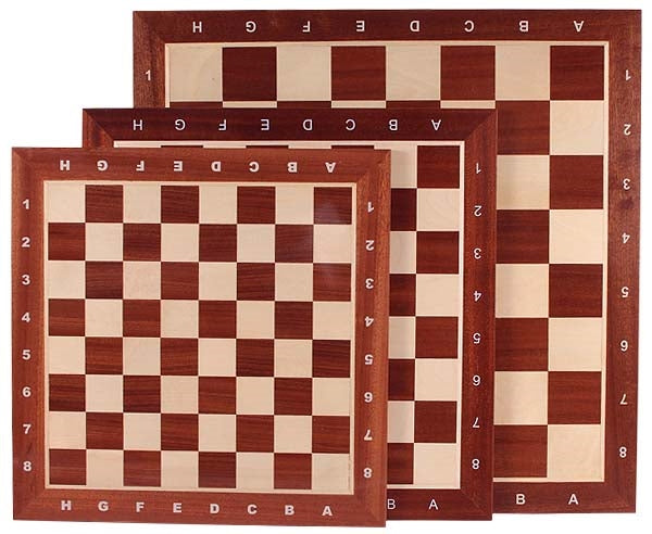 Regular 2 Sapele and Sycamore Chess Board with 50mm Squares and Algebraic Notation