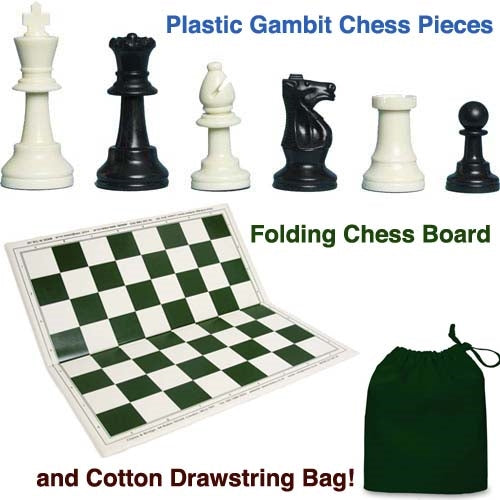Plastic Gambit Chess Set, Folding Board and Drawstring Bag