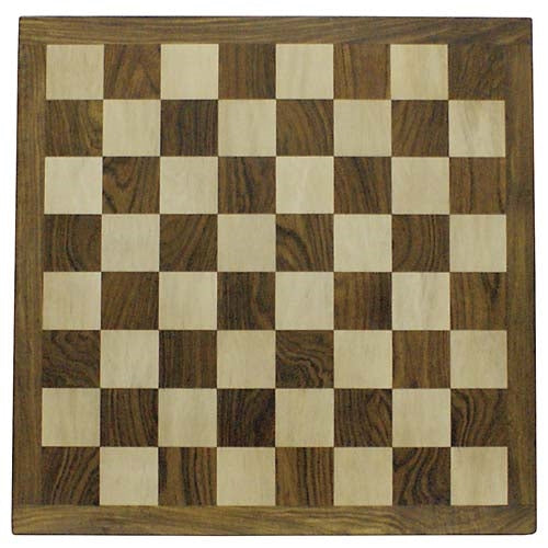 Solid Wood Sheesham and Maple Chess Board (55mm Squares): Square Edged.