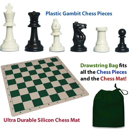 Plastic Gambit Chess Set, Deluxe Silicone Mat and Drawstring Bag