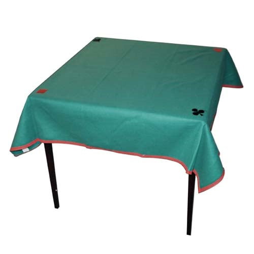 "Polyester Bridge Table Cloth with Suit Symbols - Forest Green (47"" square)"