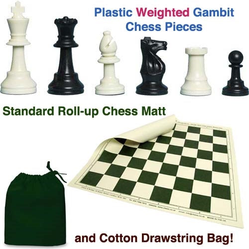 Plastic Weighted Gambit Chess Set, Roll-up Mat and Drawstring Bag