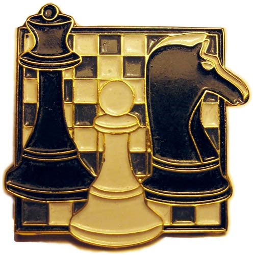 Chess Board Badge - Queen, Knight and Pawn