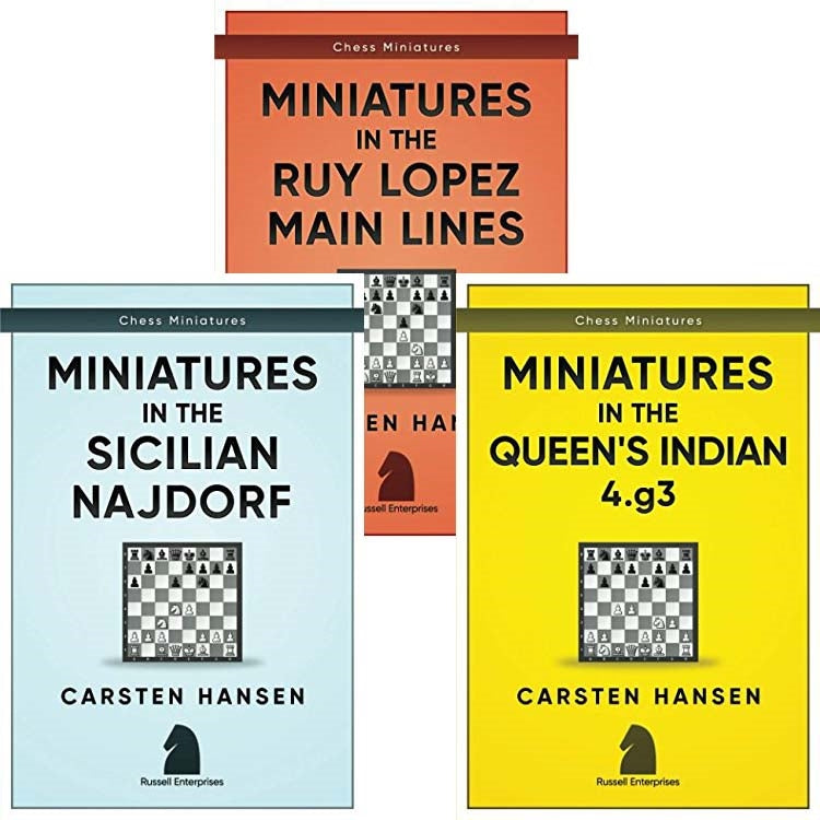 Chess Miniatures in the Complete Series: Ruy Lopez, Sicialian Najdorf & Queen's Indian - Carsten Hansen (3 books)