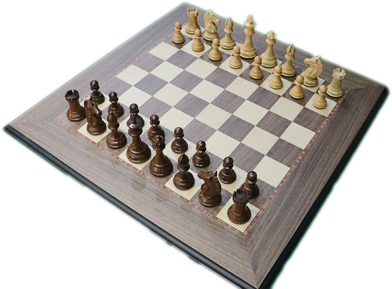 "Alban 3.75"" Sheesham Chess Set Combination (3.75"" Alban Pieces, LCC 50mm Board, Slide Top Box)"