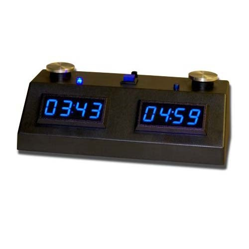 ZMF-II Digital Chess Clock with Blue LED Display and Black Case