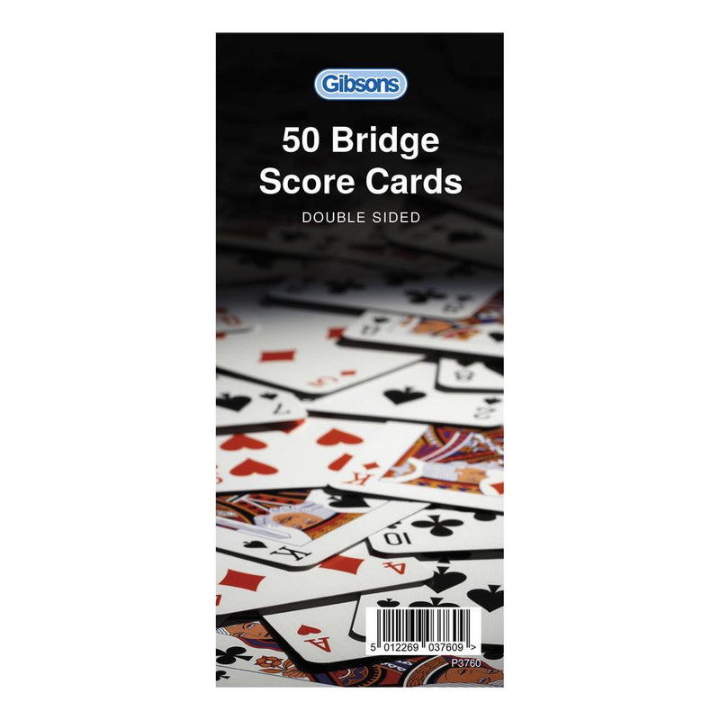 50 Rubber Bridge Score Cards - Double Sided