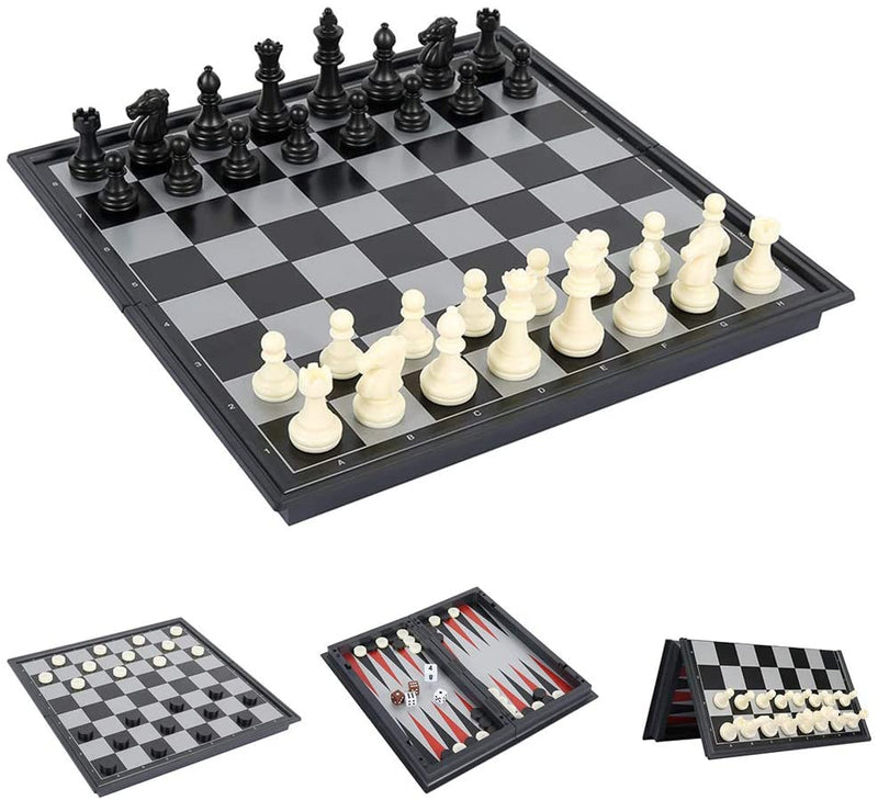 Folding Magnetic Plastic Chess, Draughts and Backgammon Set