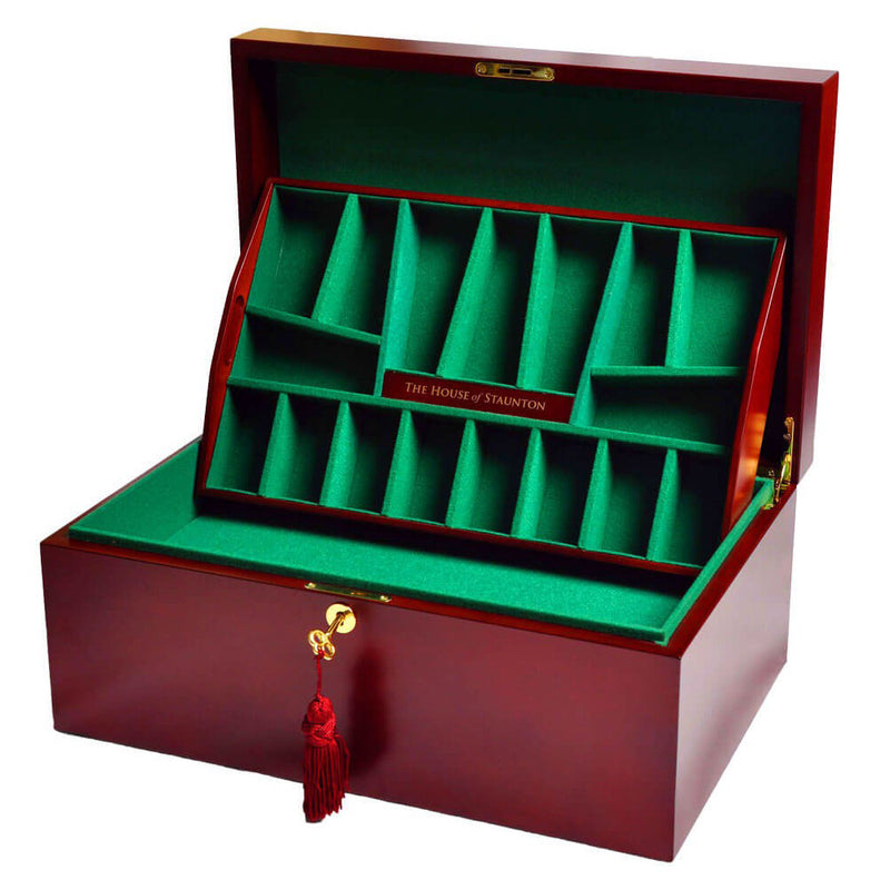 Deluxe Red Burl Fitted Coffer Chess Box