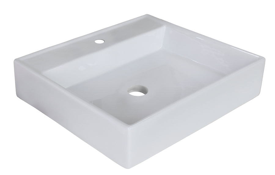 23.5-in. W Above Counter White Vessel For 1 Hole Center Drilling