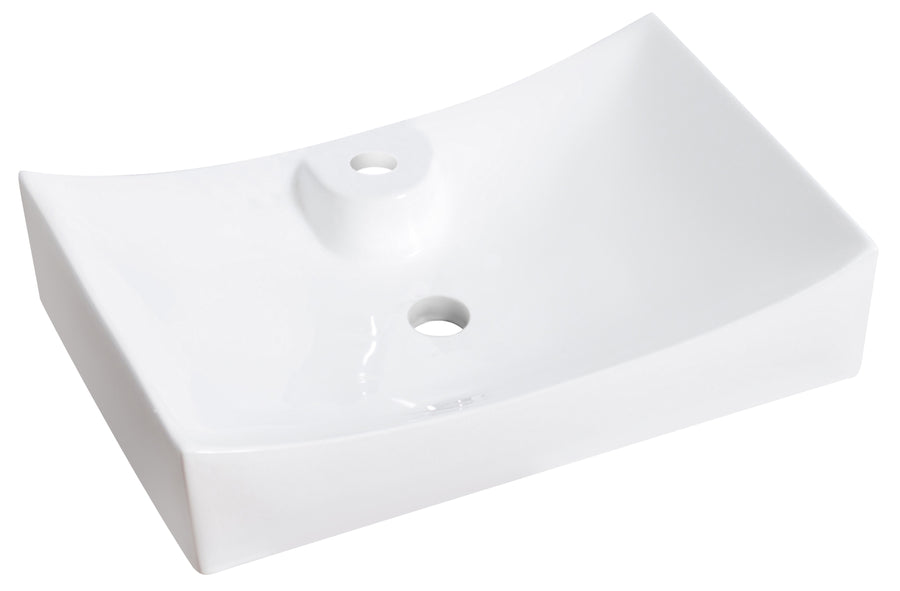 26-in. W Above Counter White Vessel For 1 Hole Center Drilling