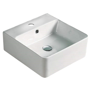 15.7-in. W Above Counter White Vessel For 1 Hole Center Drilling