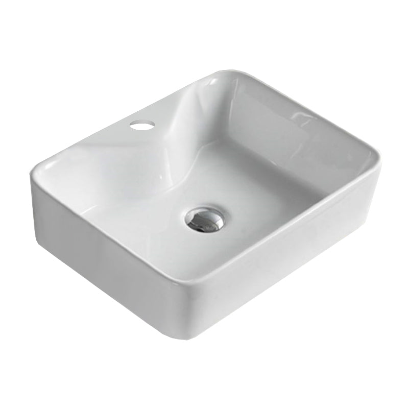 23.6-in. W Above Counter White Vessel For 1 Hole Center Drilling