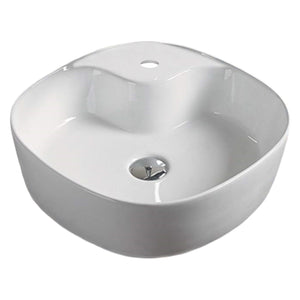 17.3-in. W Above Counter White Vessel For 1 Hole Center Drilling
