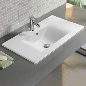 23.8-in. W 18.2-in. D Ceramic Top In White Color For 1 Hole Faucet