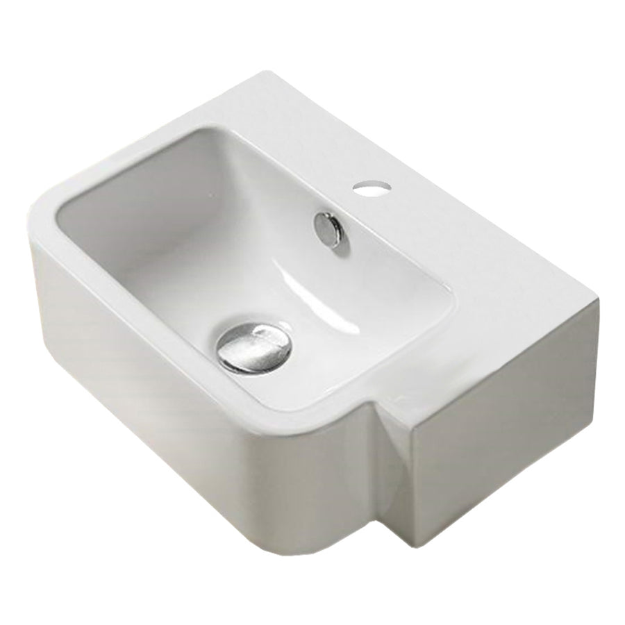 17.5-in. W Above Counter White Vessel For 1 Hole Left Drilling