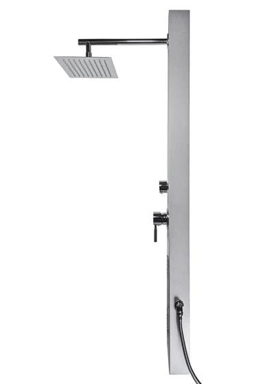 Castello Aluminum Shower Panel Tower with Square Rainfall Shower Head