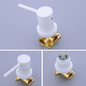 Geneva Matte Brass Wall Mounted Single Handle Bathroom Mixer Tap Basin Faucet White