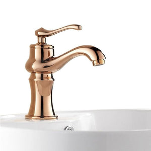Paris Single Handle Rose Gold Finish Bathroom Basin Sink Faucet Mixer Tap