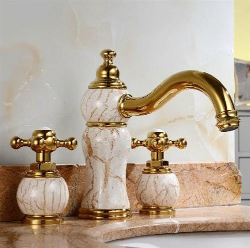 Leo Luxury Natural Jade Gold Finish Basin Faucet Dual Handles Mixer Tap Centerset