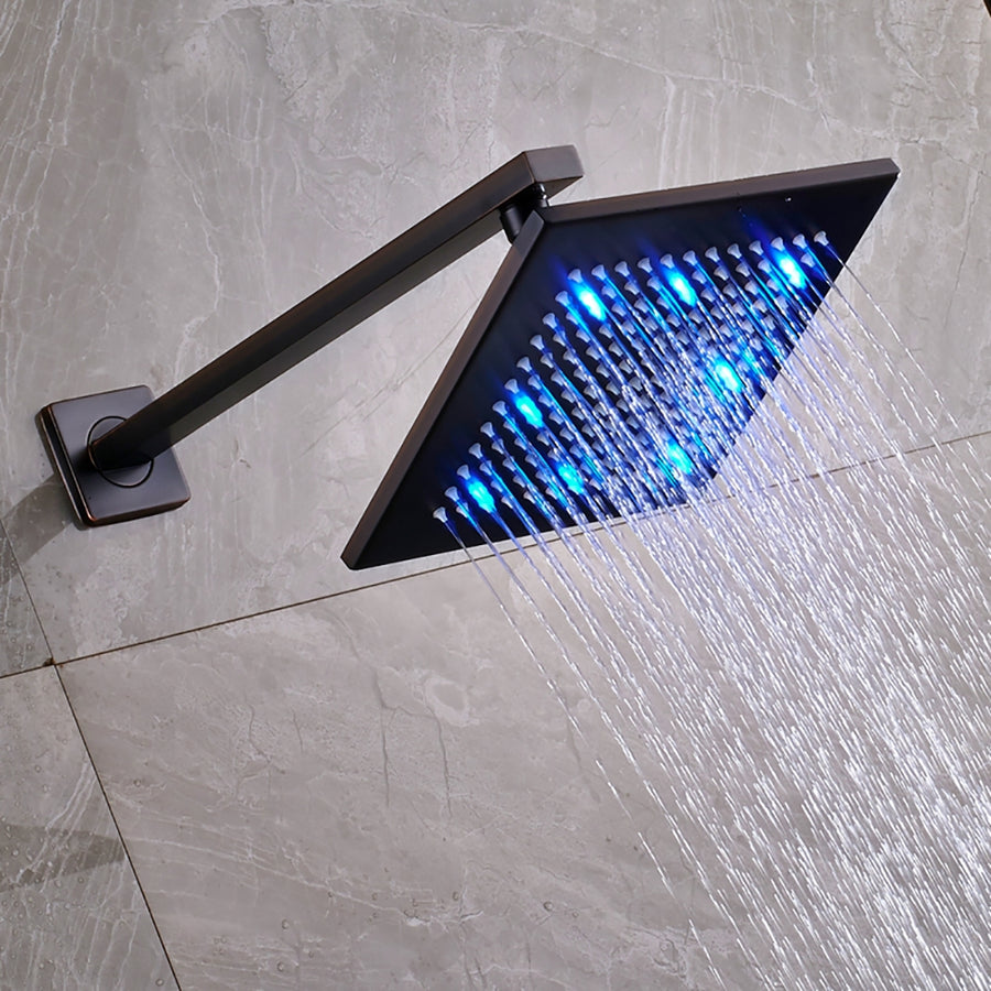 Fontana Oil Rubbed Bronze 12 Inch Bathroom Rain Shower Set With LED Color