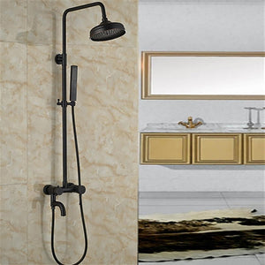 Solid Brass Rain ShowerSet Single Handle Oil Rubbed Bronze W/ Hand Shower Sprayer