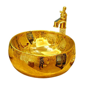 Lenox Golden Patterned Countertop Ceramic Bathroom Sink Washbasin