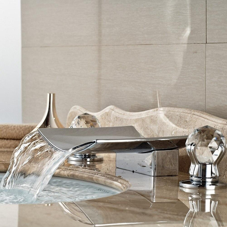 New Luxury LED Crystal Handle Waterfall Bathroom Widespread Faucet Sink Mixer Tap