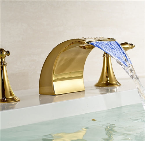 Gold Finish LED Bathroom Sink Faucet Mixer Tap