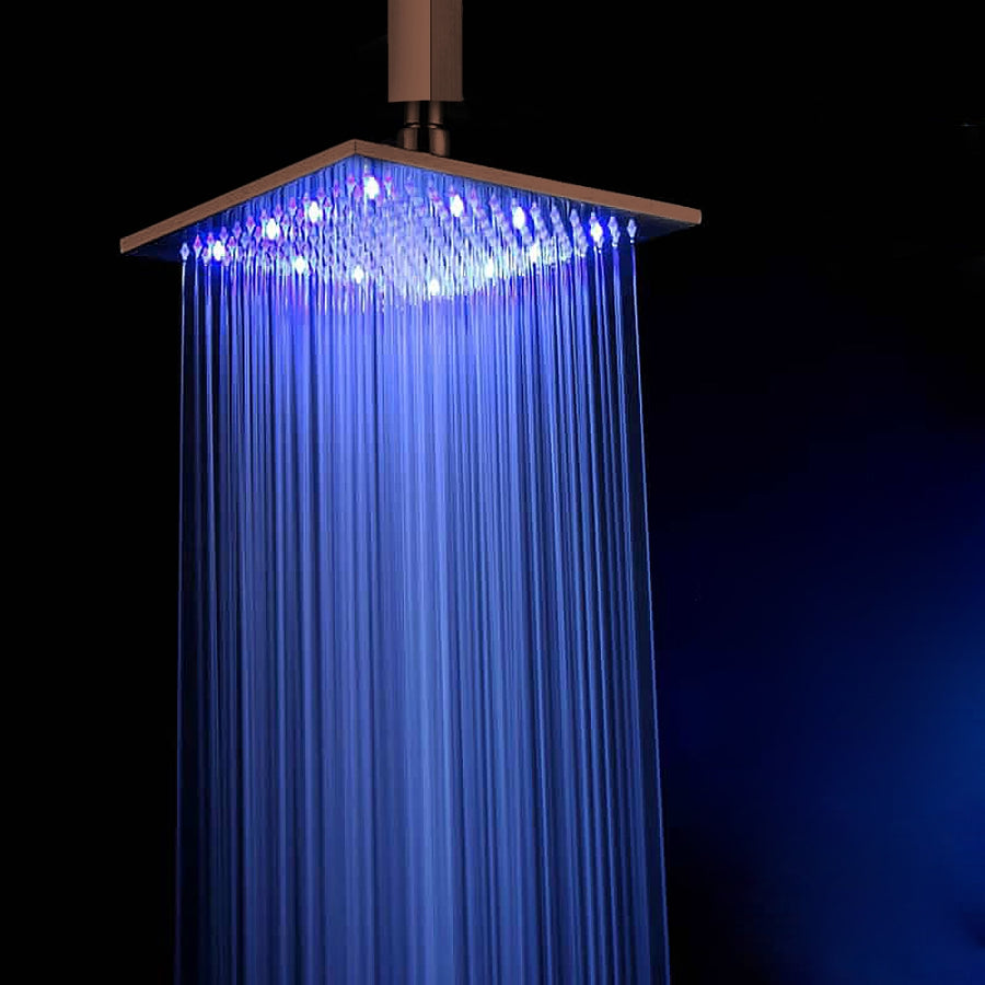 "Fontana 12"" Oil Rubbed Bronze Square Color Changing LED Rain Shower Head (Solid Brass)"