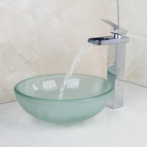 Milan Round Bathroom Sink with Waterfall Faucet & Drainer