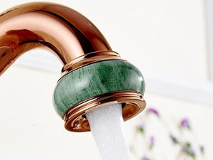 Livorno Fancy European Jade Painting Single Handle Brass Faucet
