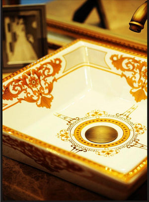 Udine European Inspired Square Glazed Ceramic Bathroom Sink