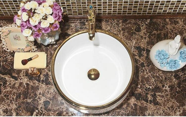 Prato Mosaic Gold Countertop Bathroom Sink with Drain