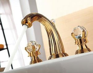Milan Deck Mounted Gold Crystal Dual Handles Bathroom Faucet