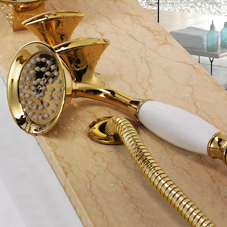 Siena Luxurious Deck Mounted Gold Waterfall Faucet with Hand Shower
