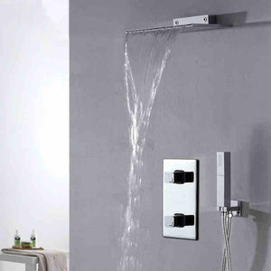 Reims Waterfall Chrome Wall Mounted Bathroom Shower Set