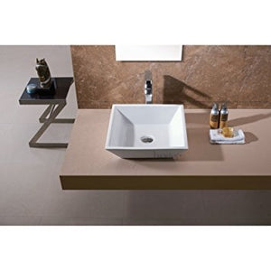Assisi Deck Mounted White Porcelain Ceramic Bathroom Sink