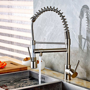 Genoa Brushed Nickel Deck Mounted LED Kitchen Faucet