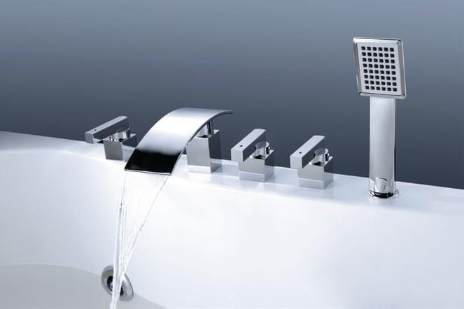 Toulouse Solid Brass Deck Mounted Waterfall Chrome Bathroom Tub Faucet
