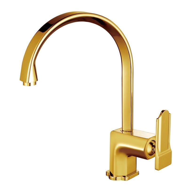 Poperinge Brass Deck Mounted Gold Single Handle Kitchen Faucet