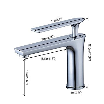 Bitonto Single Handle Posh Long Reach Rectangular Spout Chrome Bathroom Faucet