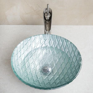 Turin Round Bathroom Sink with Waterfall Faucet & Drainer
