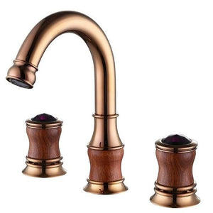 Versailles Deck Mounted Rose Gold Dual Handle Bathroom Faucet