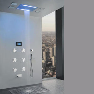 Luxurious Recessed Large LED Waterfall Rainfall Shower System with 6 Body Jets Hand Shower