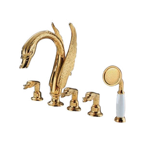 Fontana Swan Neck Gold Finish Waterfall Bathtub Faucet